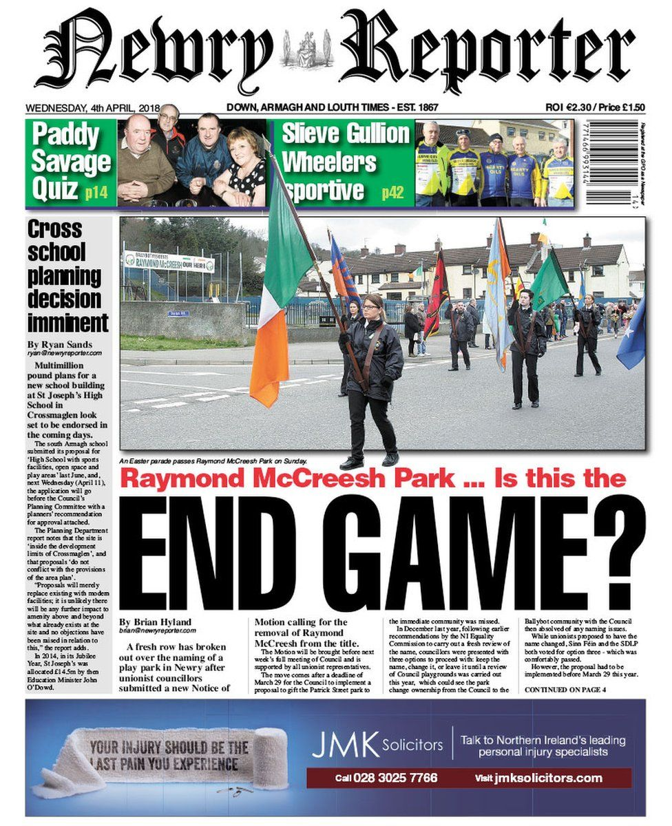 front page of the Newry Reporter Wednesday 4 April 2018