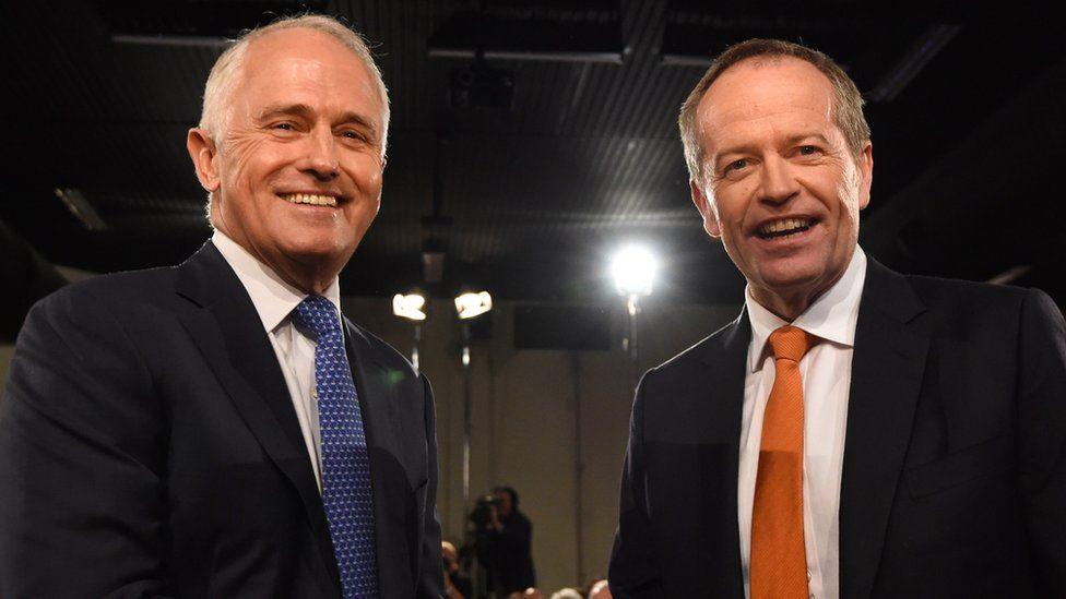 Australian Prime Minister Malcolm Turnbull and Opposition Leader Bill Shorten