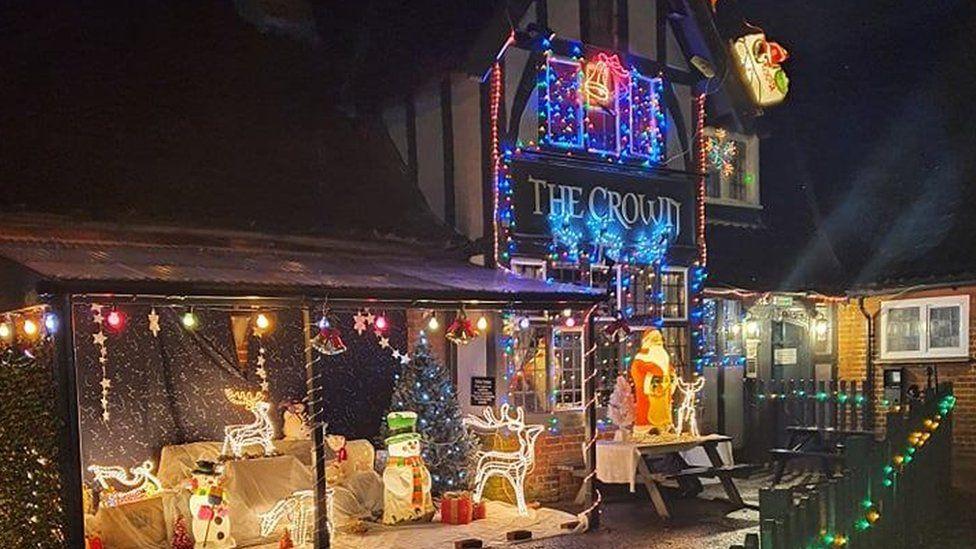 The Crown pub's Christmas lights