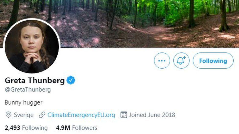 Greta Thunberg Twitter screenshot