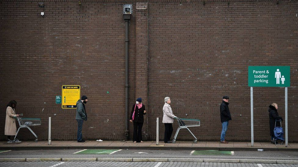 People waiting outside a Glasgow supermarket