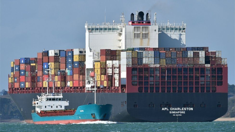 Container ship at Southampton