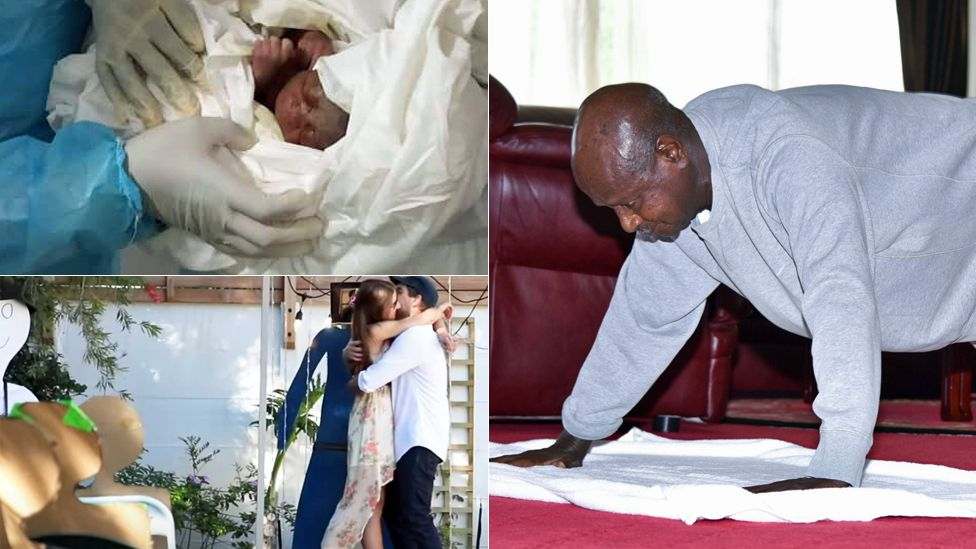 """Top left: A baby born in coronavirus isolation ward in Cameroon. Bottom left: A couple in South Africa getting """"married"""" before a cardboard cut-out guests. Right: Uganda's President Yoweri Museveni doing a press-up"""