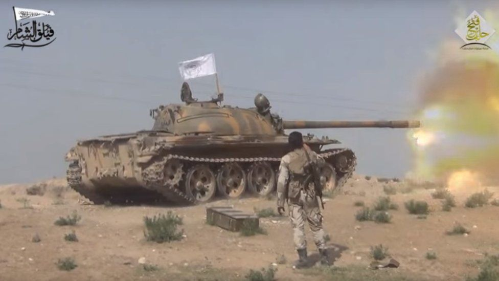 Screengrab of video posted by Syrian rebel group Faylaq al-Sham purportedly showing battle for town of al-Rai with Islamic State militants