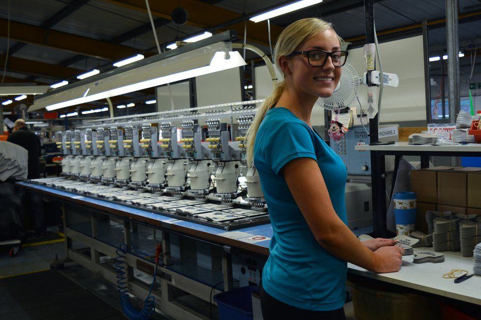 Casey at her machine
