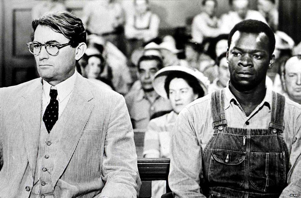 Gregory Peck as Atticus Finch and Brock Peters as Tom Robinson in To Kill a Mockingbird