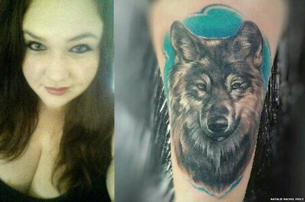 Natalie Price and her wolf tattoo