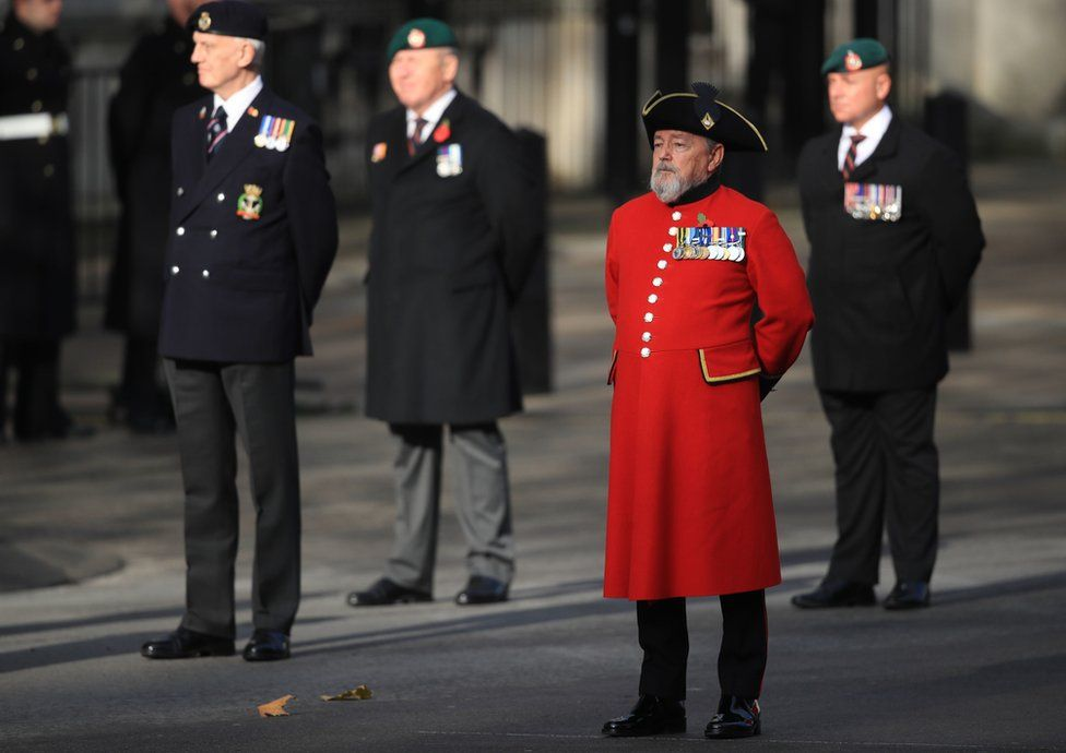 Veterans attend the Remembrance Sunday service at the Cenotaph, in Whitehall, London