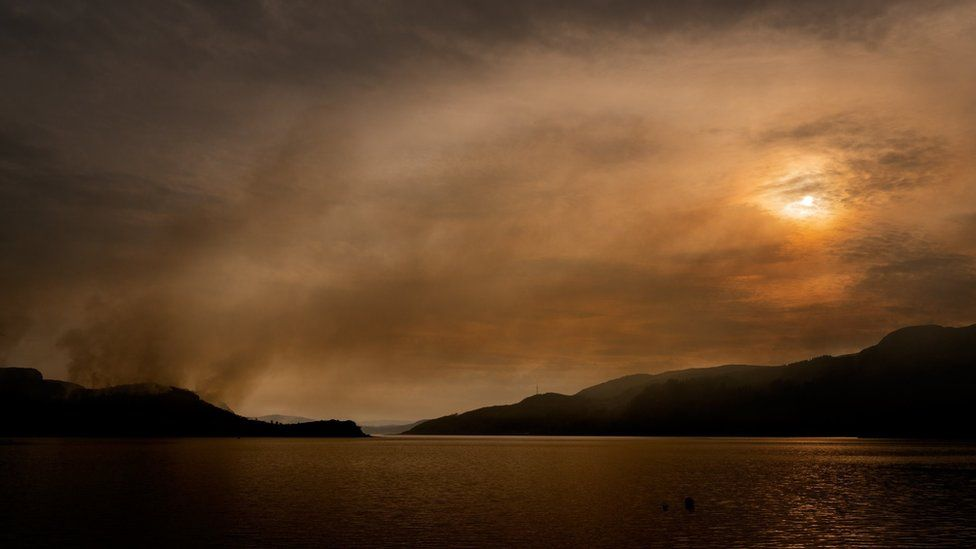 Smoke from wildfires on Bute