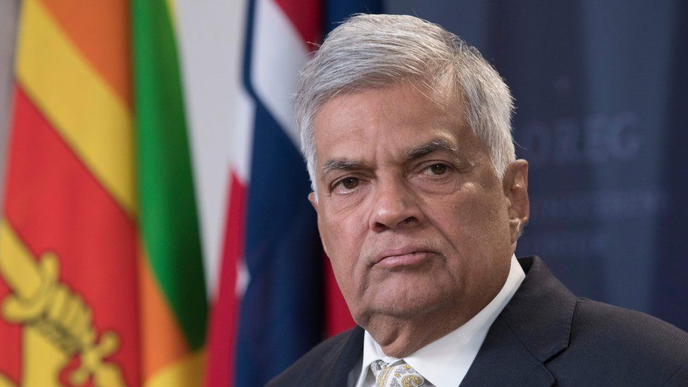 """Ranil Wickremesinghe attends a joint press conference with Norway""""s Prime Minister after their meeting in Oslo, Norway, on October 5. 2018"""