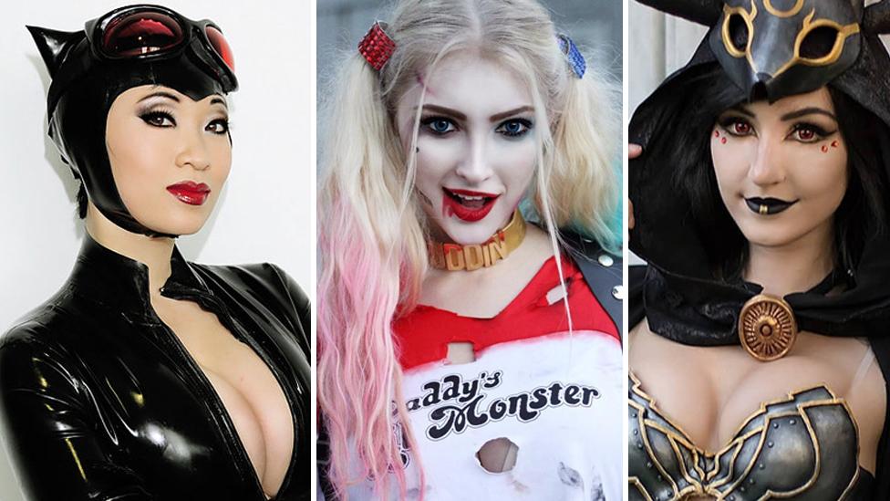 Yaya Han as Catwoman, Anna Faith as Harley Quinn, and Luxlo Cosplay as Umbreon