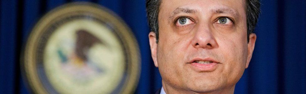 A file picture dated 18 May 2016 shows Preet Bharara, US Attorney of the Southern District of New York, speaks during a press conference in New York, New York, USA.