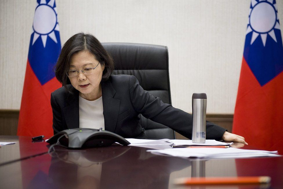 A handout picture released by the Office of the President Taiwan on 3 December 2016 shows Taiwanese President Tsai Ing-wen having a phone conversation with US President-elect Donald Trump late evening in Taipei, Taiwan, 2 December 2016.