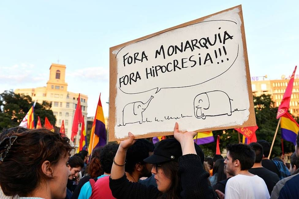 Republican demonstrators in Barcelona in 2014 on the day Juan Carlos abdicated