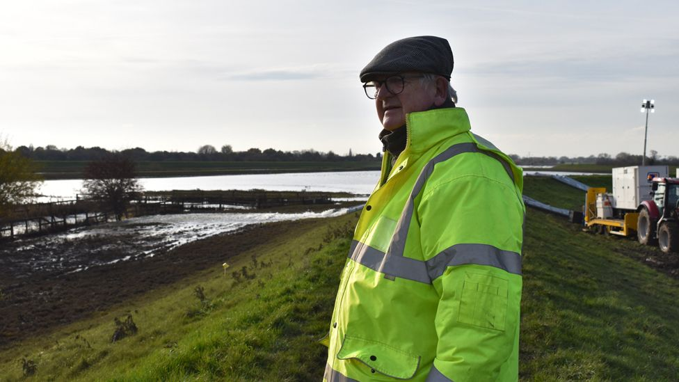 Fishlake's chief flood warden and chairman of the parish council, John Waite, at the pumping site used to reduce flood levels