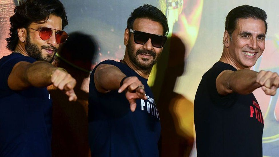Bollywood actors Ranveer Singh (L), Ajay Devgn (C) and Akshay Kumar pose for a picture during the trailer launch of their upcoming action Hindi film 'Sooryavanshi' in Mumbai on March 2, 2020. (Photo by Sujit Jaiswal / AFP) (Photo by SUJIT JAISWAL/AFP via Getty Images)