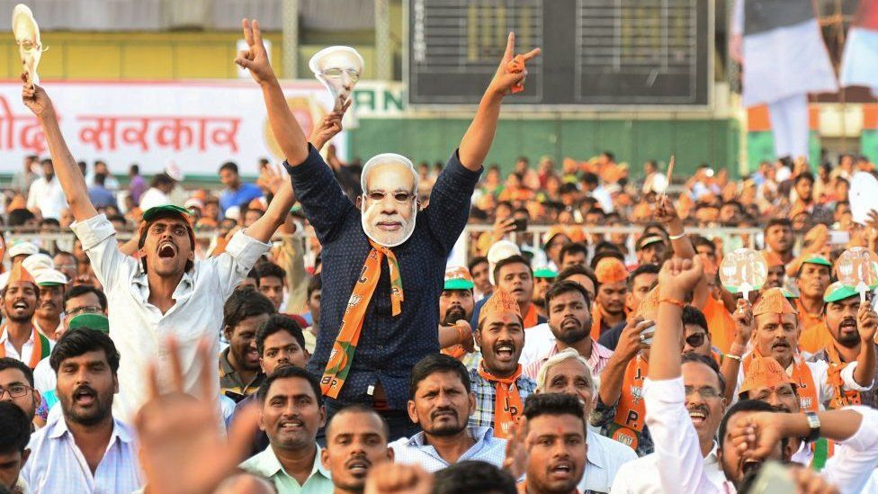 Supporters of the Bharatiya Janata Party (BJP) shout during a rally in in Hyderabad in April.