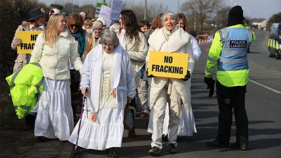 Protesters at Preston New Road
