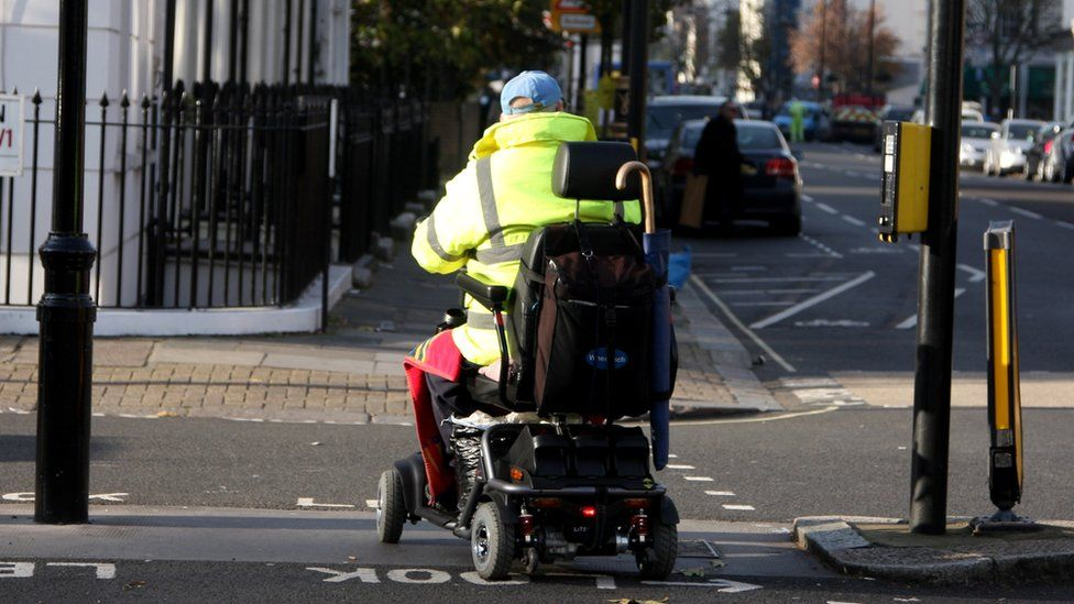 Person using a mobility scooter