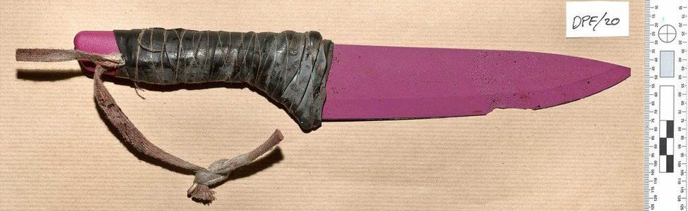 12-inch pink ceramic knives were strapped to the wrists of the attackers