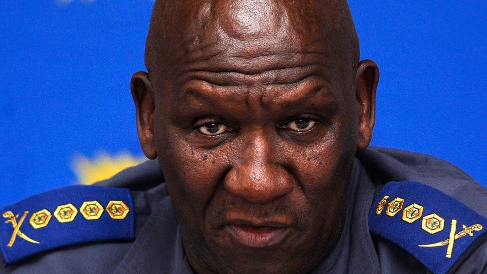 The National Commissioner of the South African Police Service, Bheki Cele, speaking at a news conference in 2010, before his suspension over corruption allegations in 2011 (file picture)