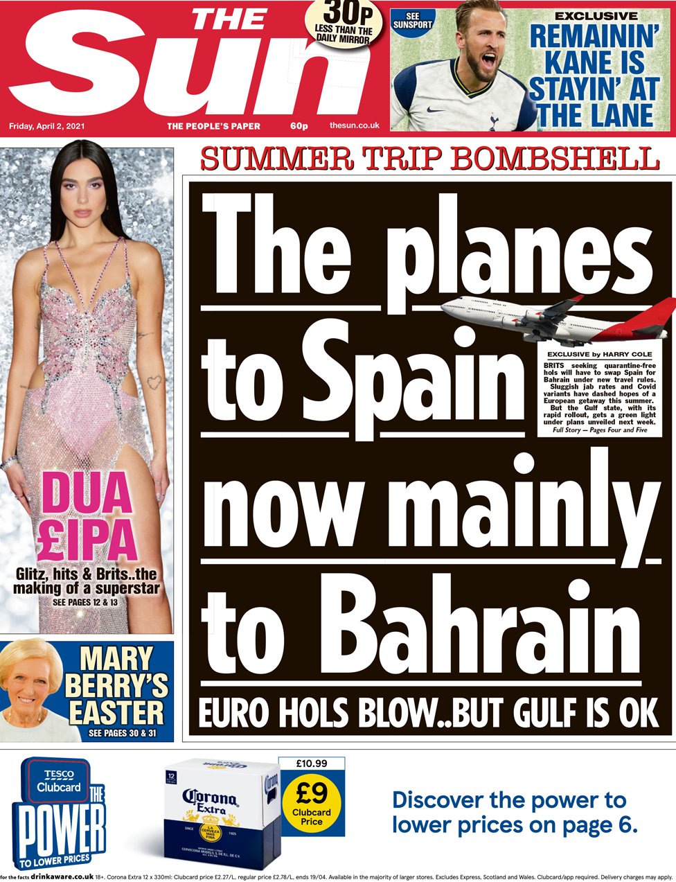 The Sun front page 2 April 2021