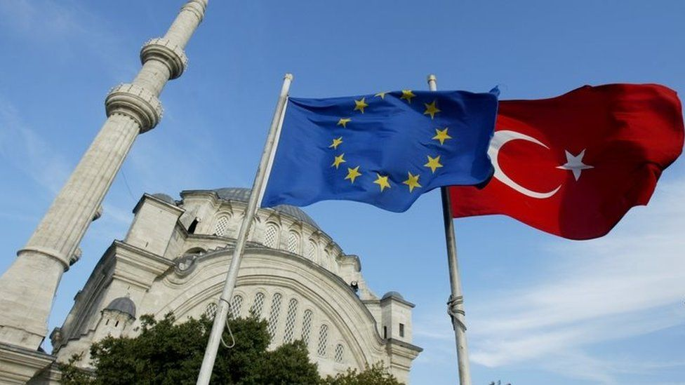 Flags of Turkey and the European Union in front of a mosque in Istanbul, Turkey