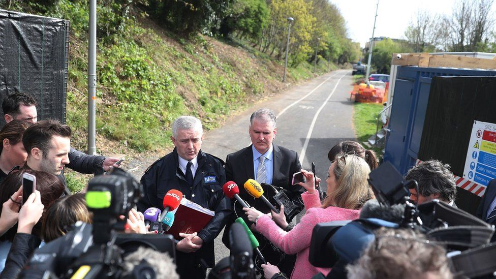 Supt William Carolan (left) and Det Insp Des McTiernan speak to the media at the site where a human torso was found during a dig for the remains of convicted rapist James Nolan who vanished more than six years ago, at Tolka Valley Park, Finglas, Dublin.
