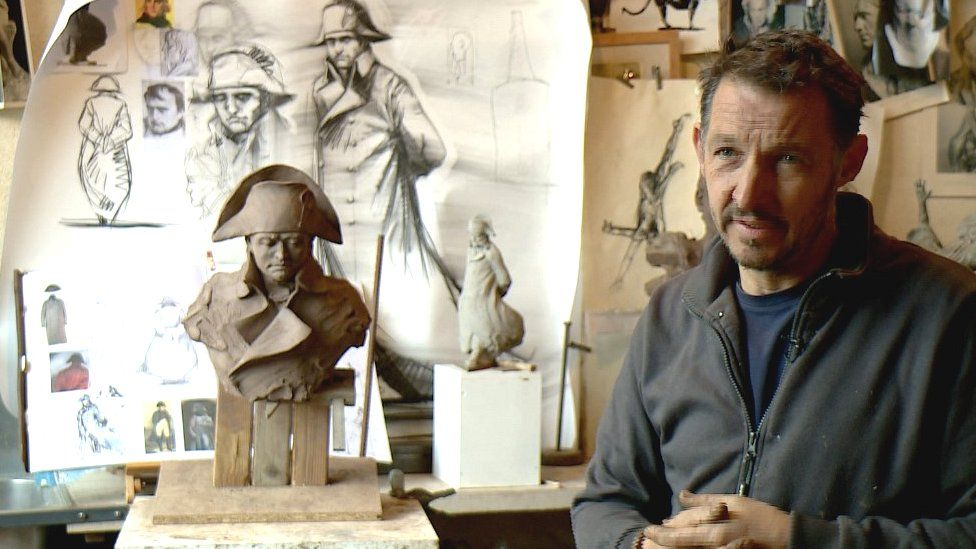 Sculptor Emmanuel Michel in his studio