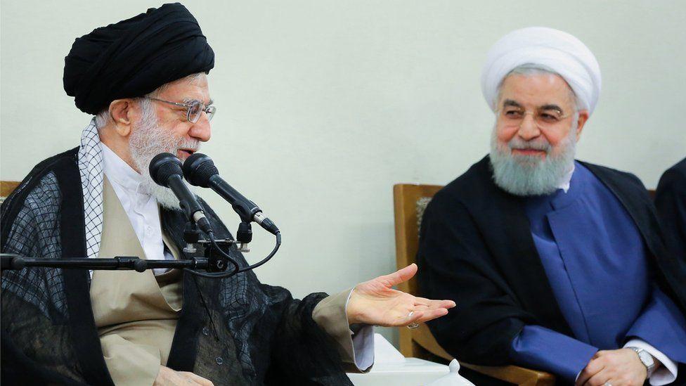 Iran supreme leader Khamenei (L) and president rouhani (L)