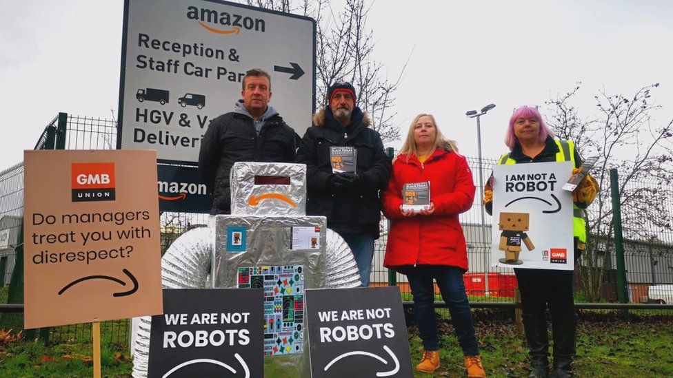 Protesters outside an Amazon warehouse
