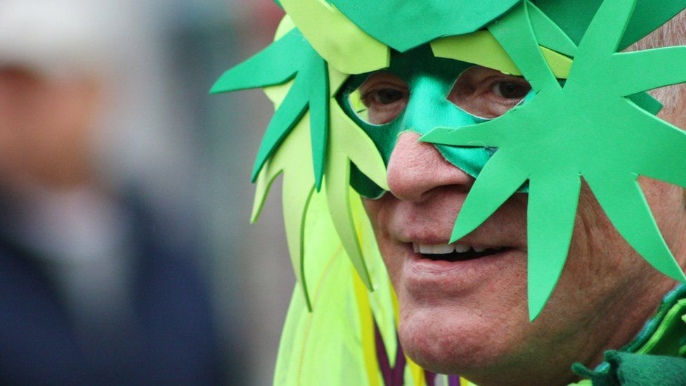 Man in a marijuana mask