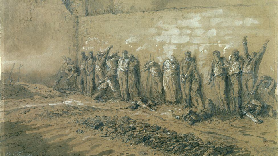 An illustration by Alfred Henri Darjou shows some of the Communards shot at the Wall of the Fighters