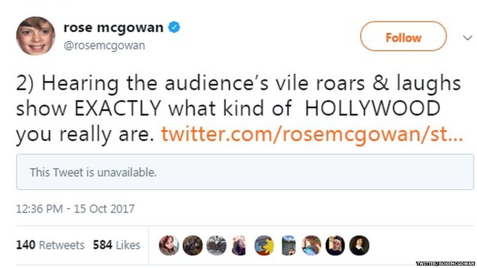 A tweet from Rose McGowan