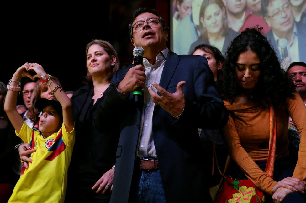 Gustavo Petro speaks to supporters and the news media after polls close in the first round of the presidential election in Bogota, Colombia, 27 May