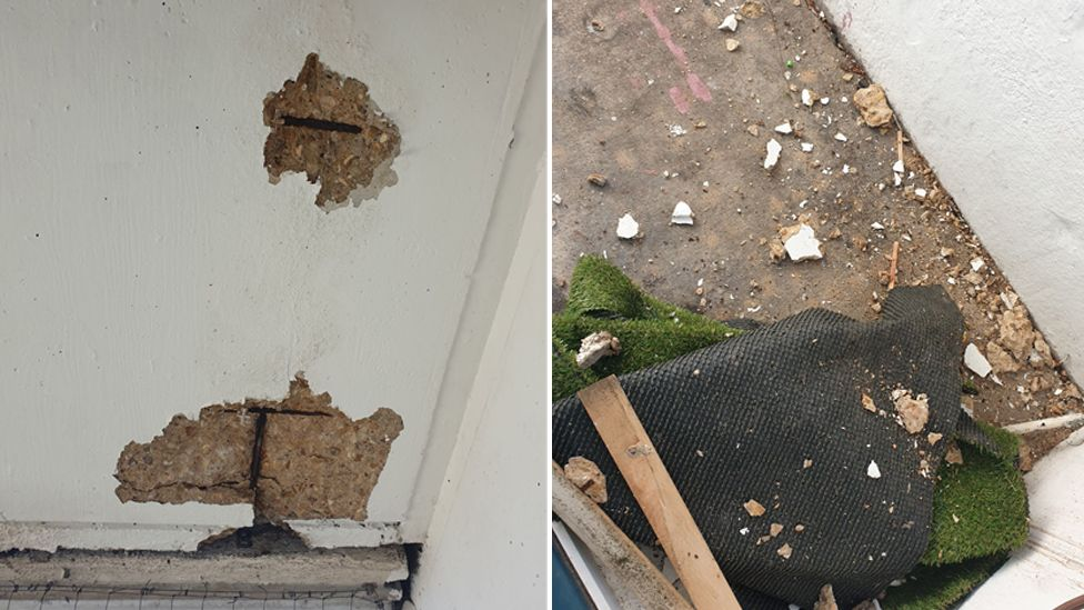 Debris from concrete falling