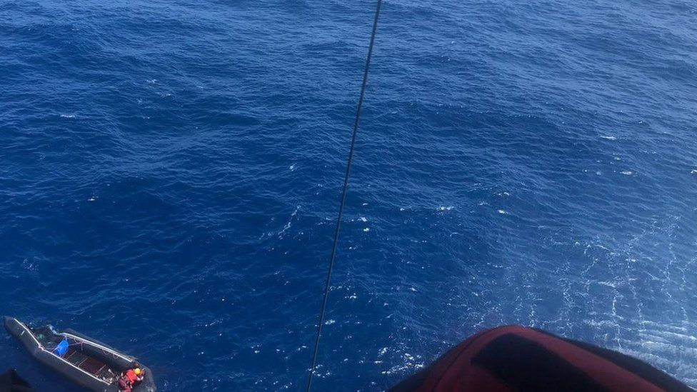 Spain's maritime rescue service airlifted the woman to safety after she was spotted by a passing merchant ship