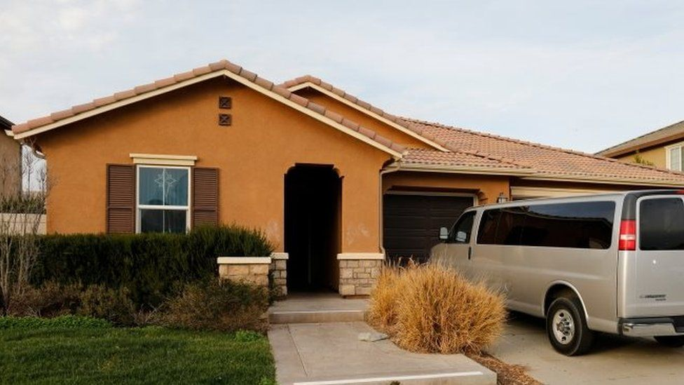 A van is parked on the driveway of the home of David Allen Turpin and Louise Ann Turpin in Perris, California. Photo: 15 January 2018