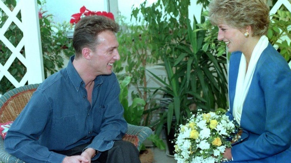 Princess of Wales meeting patient Michael Kelly at Mildmay Hospital in east London, November 1991