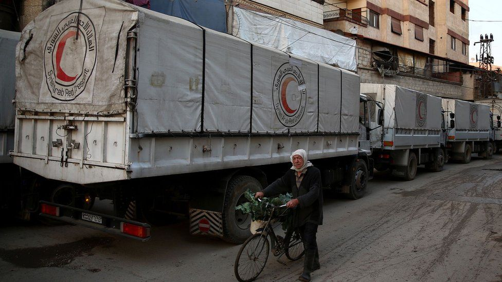 Red Crescent convoy carrying humanitarian aid in rebel-held Eastern Ghouta area, on outskirts of Damascus. 23 February 2016