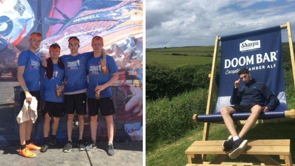 On the left, Jolyon poses at a Tough Mudder competition; on the right he's pulling a silly face while sitting in a giant deck chair