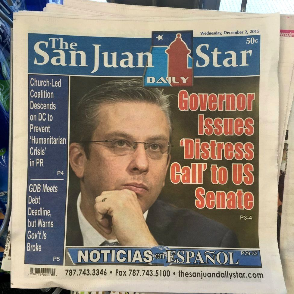 "Newspaper from early December that reads: ""Governor issues 'Distress Call' to US Senate"""