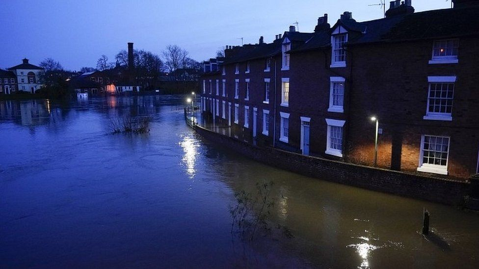 The swollen River Severn in Shrewsbury