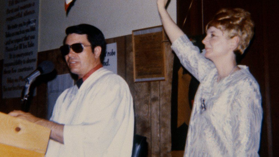 Archive photograph of Jim Jones and his wife