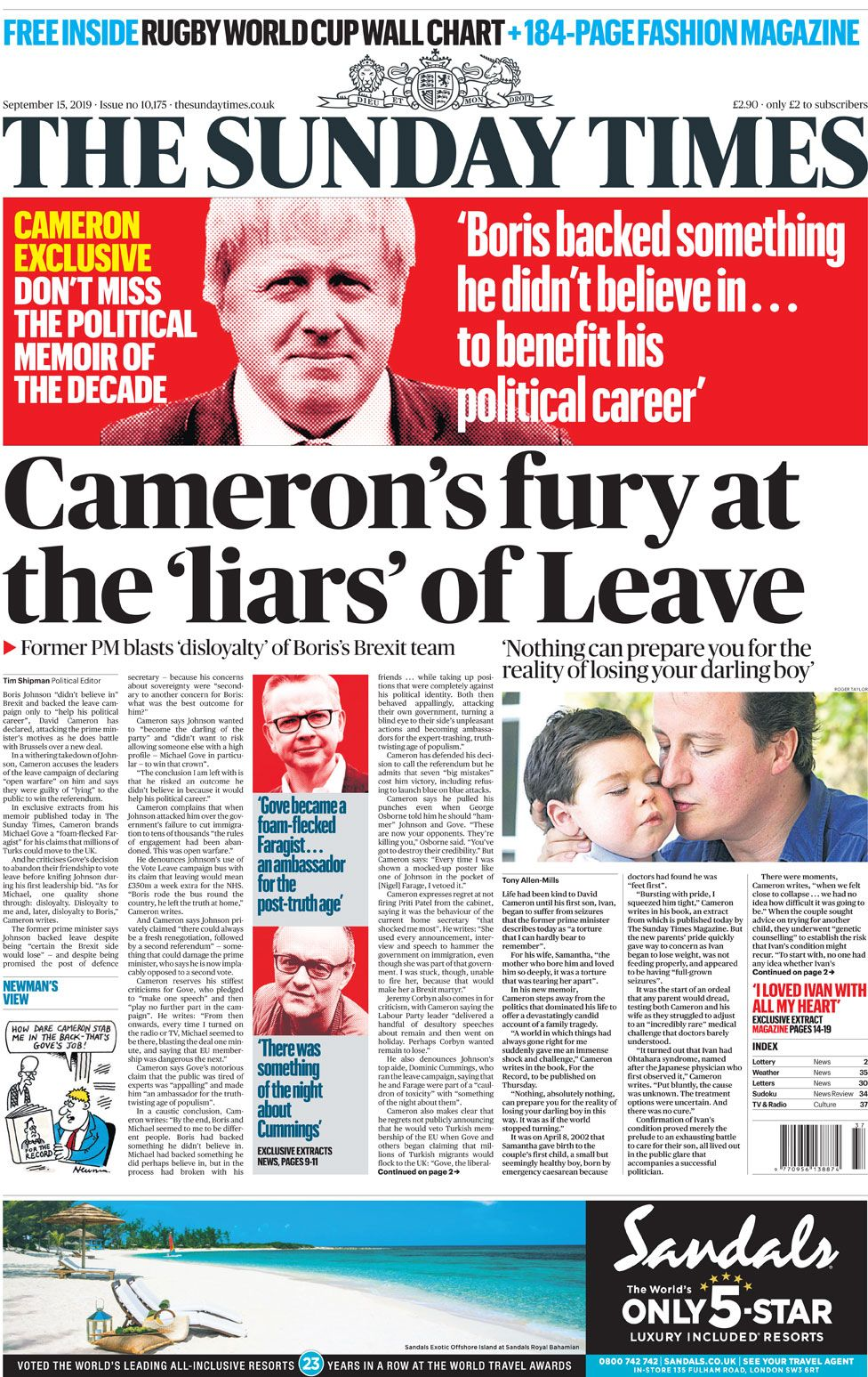 Newspaper headlines: Cameron's 'fury' and rugby star's revelation