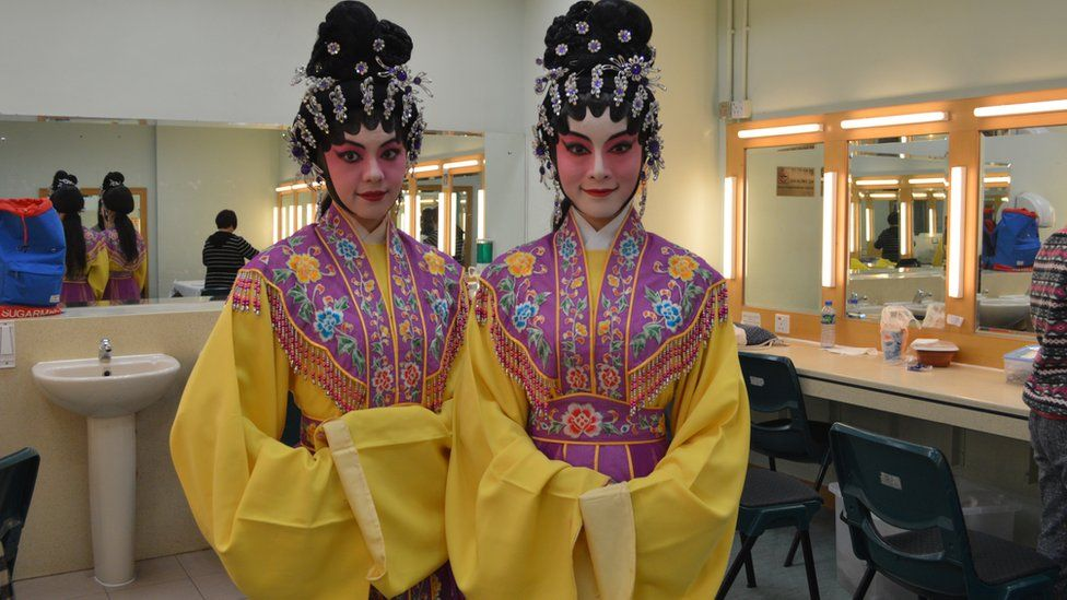 Two Cantonese opera performers backstage in Hong Kong, 21 February 2015