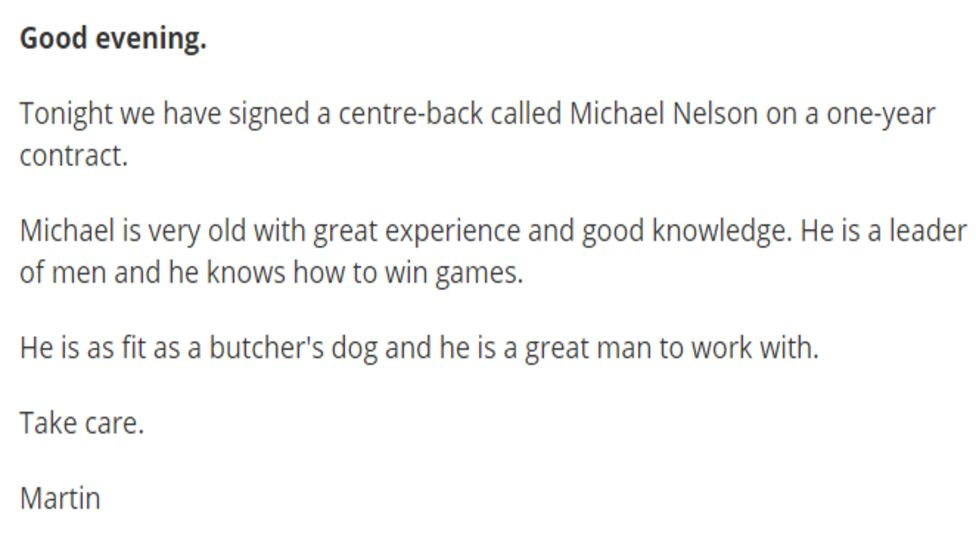 Martin Allen's player signing announcement of Michael Nelson