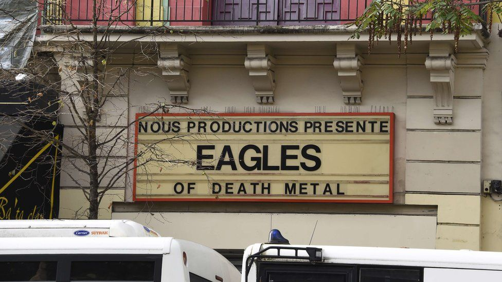 A sign for the Eagles of Death Metal concert