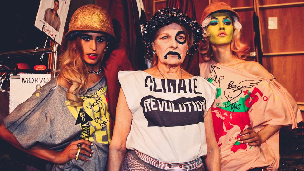 Vivienne Westwood in a Climate Revolution t-shirt