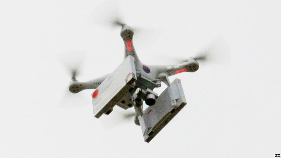 A drone carrying abortion pills that took off from Frankfurt an der Oder in Germany lands in Slubice, Poland, on Saturday